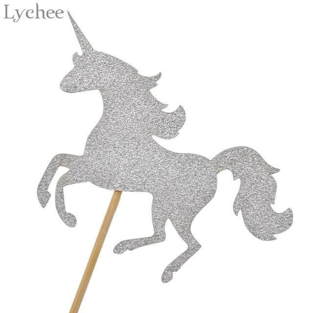 Lychee 5pcs Glitter Unicorn Horse Wedding Cake Topper Baby Shower Birthday Party Dessert Decoration Supplies