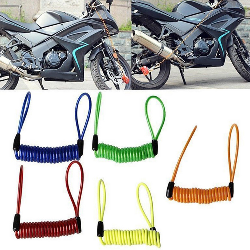 Hot 5pcs Motorcycle Bike Scooter Alarm Disc Lock Security Spring Reminder Cable Strong BX