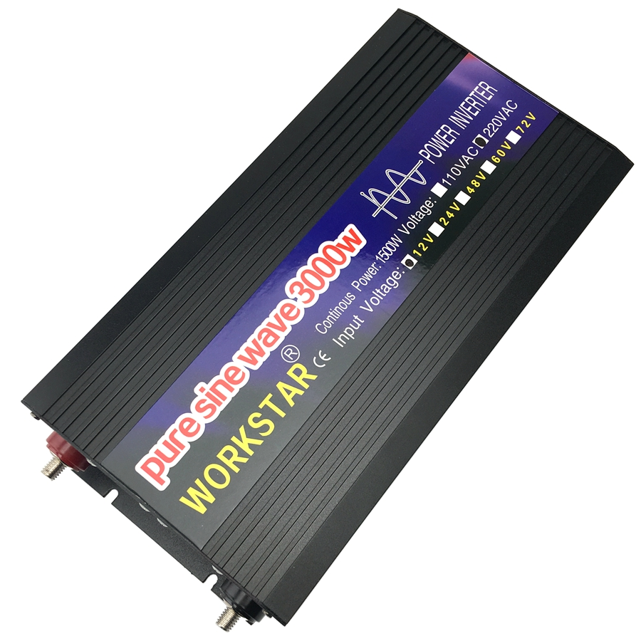 WORKSTAR Crête 3000 W Pur Onde sinusoïdale HORS Réseau DC12V/24 V à AC220V 50 HZ/60 HZ onduleur Maison-utiliser Convertisseur pour Système Solaire