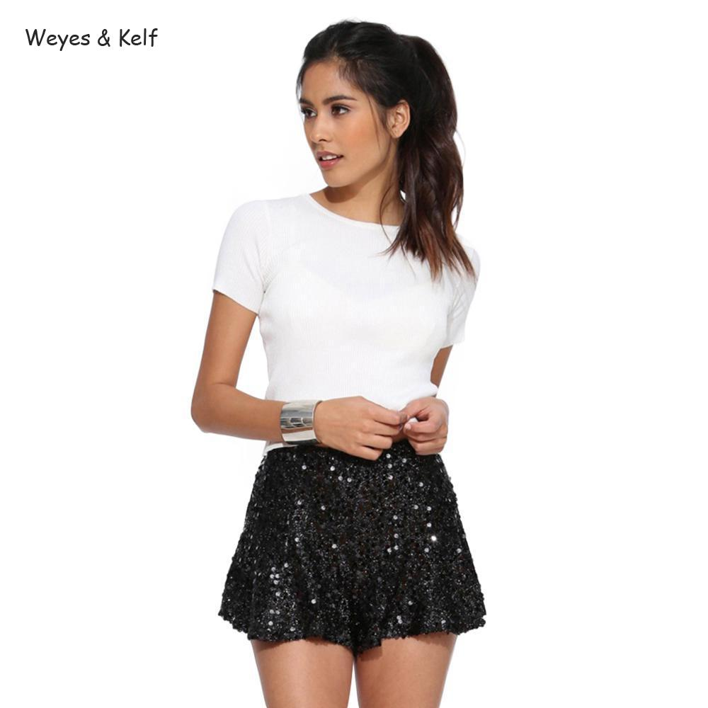 Weyes & Kelf Sexy Sequin Shorts Skirt For Women 2018 Casual Side Zipper Party Female Mini Skirts Brief Black Shorts Women
