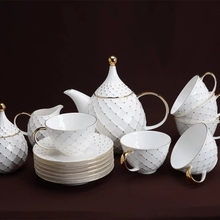 15 European golden head coffee cup afternoon tea set bone china coffee cup dish
