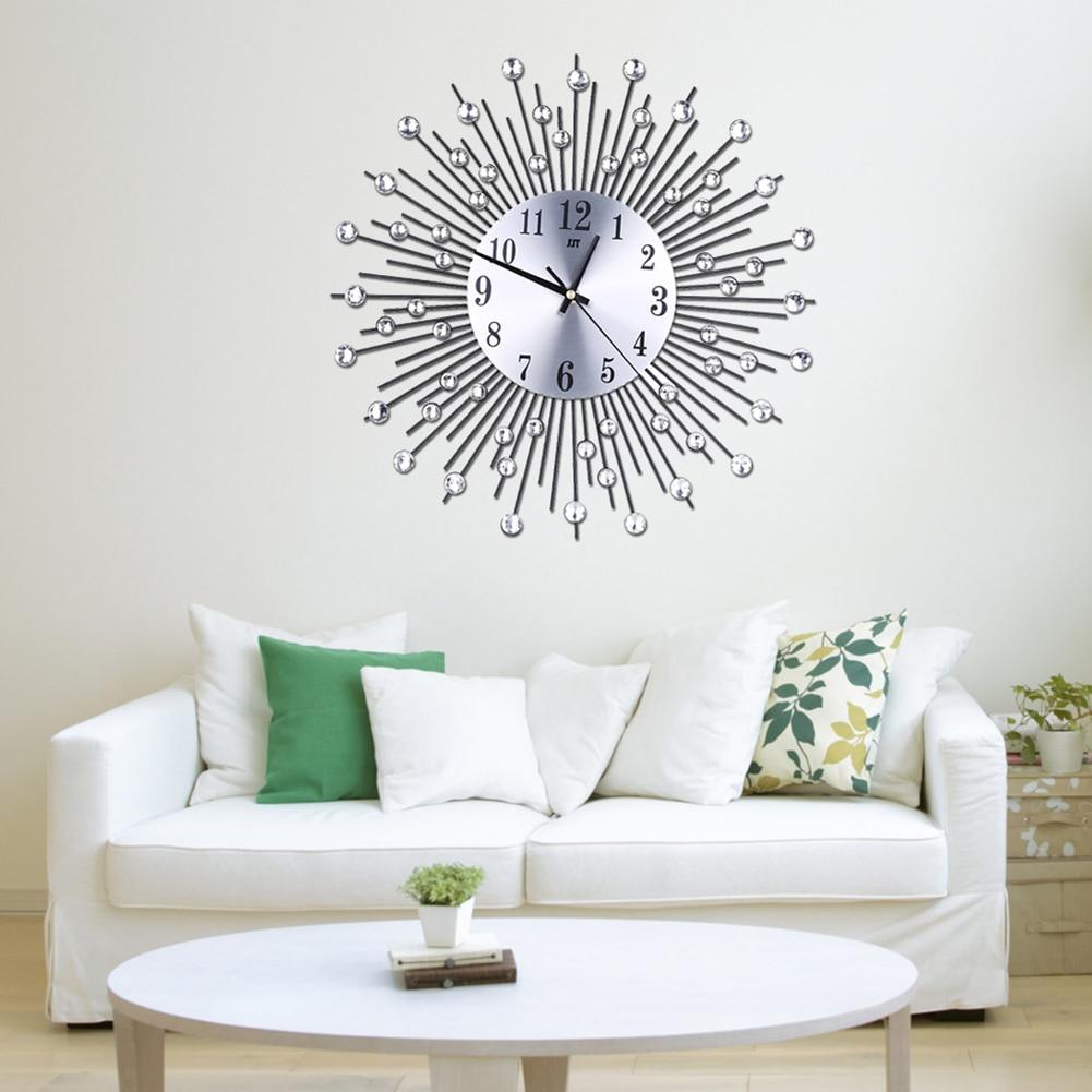 Metal Plus Diamond Wall Clock Iron Art Inlaid Diamond Flower Living ...