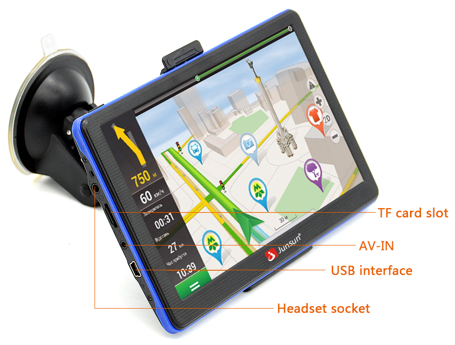 Junsun 7 inch GPS Navigation Windous CE 6.0 FM 8GB Car navigator Capacitive Screen Sat Nav Russian Free Map Update 15