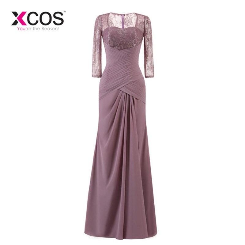 XCOS Long Evening Dress Elegant Lace Pleat Bride Banquet Floor-length Prom Gown lavender Purple Vintage Wedding Party Dress