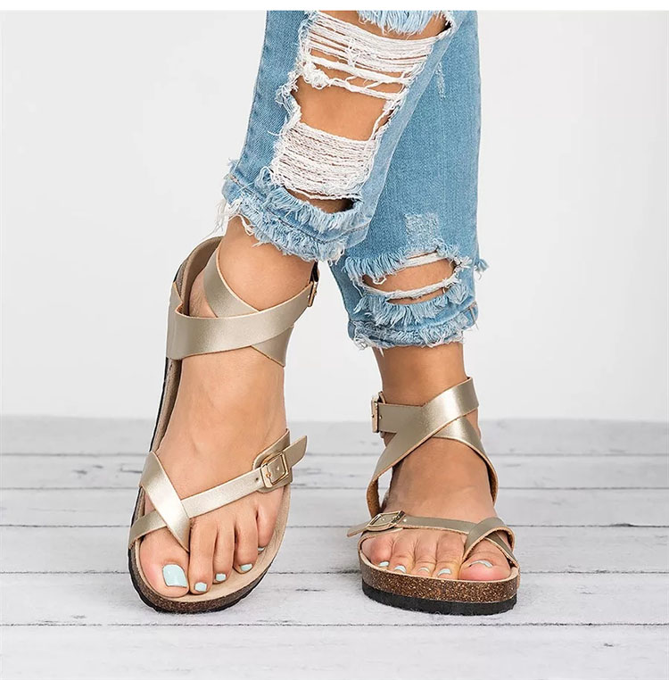 GOLD Flat Beach Wear Shoes Flip Flops Gladiators Summer Women Sandals