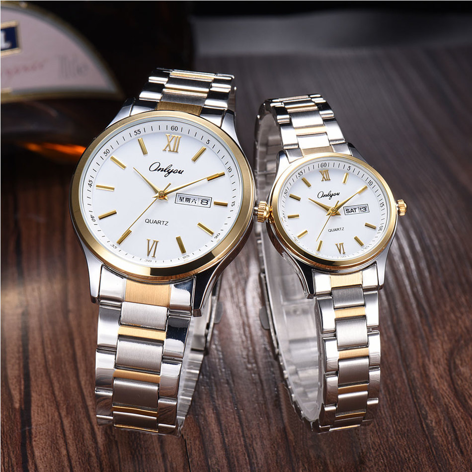 Onlyou Luxury Brand Women Men Business Watches Quartz Stainless Steel Lovers Watch Fashion Ladies Dress Watch Gold Clock 8835 onlyou brand luxury watches womens men quartz watch stainless steel watchband wristwatches fashion ladies dress watch clock 8861