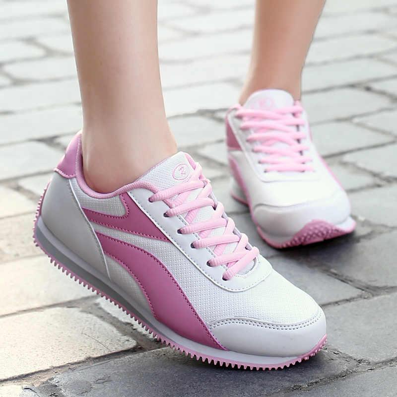 Туфли для гольфа дамы спортивные, пропускающие воздух, кожа Водонепроницаемый Нескользящие ногти женская обувь чистая плоские кроссовки Wild туфли на плоской подошве; дышащие Фитнес