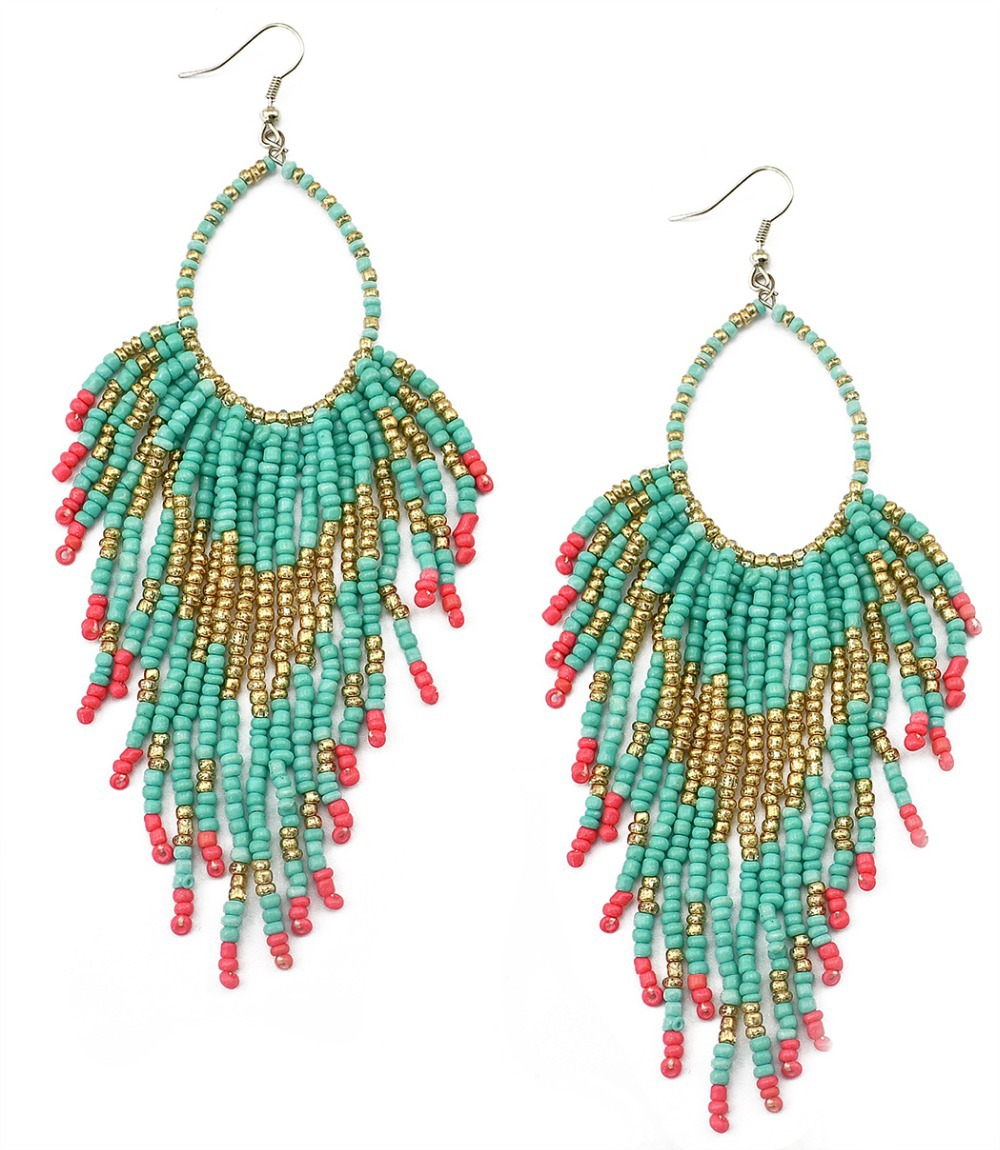 Bohemian ethnic blue seed beads tassel chain chandelier earrings ...