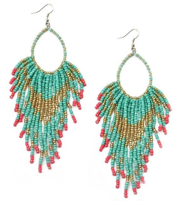 Bohemian Ethnic Blue Seed Beads Tassel Chain Chandelier Earrings Long Circle Hoop Statement Earring For Women