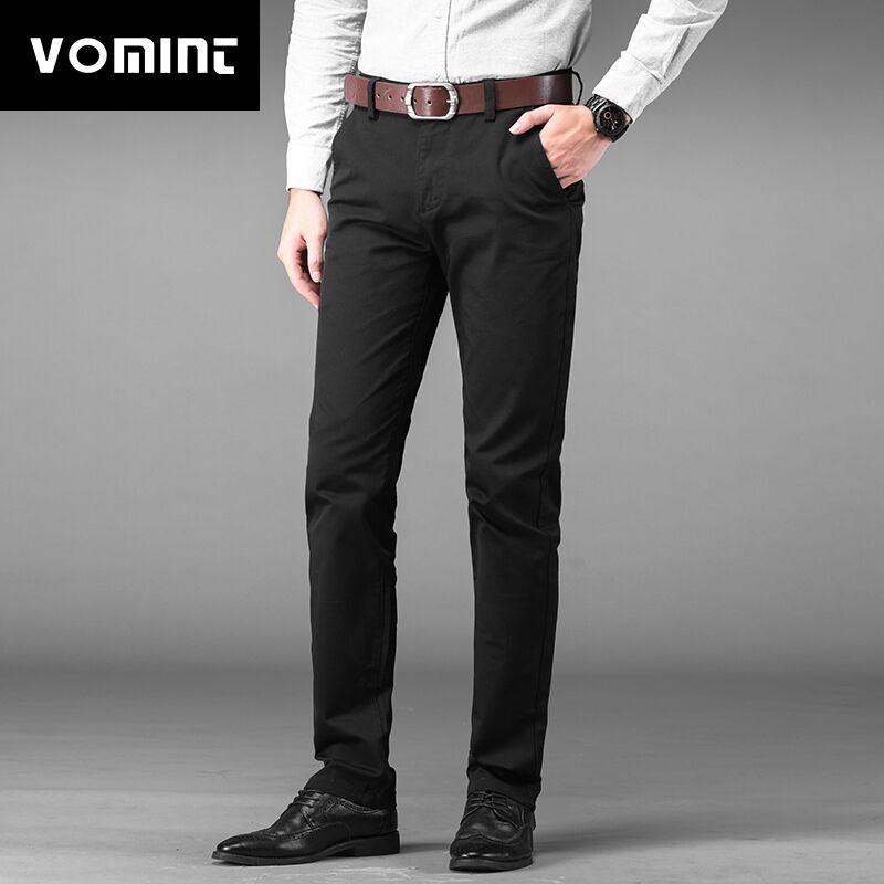 Vomint Brand New Men's Business Pants Regular Straight Fit Stretch Pants Casual Suit Trousers Elasticity Pants Pocket Details