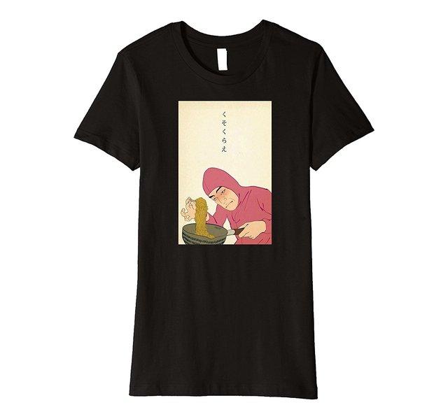 RAMEN KUNST HOLZ SELTSAME MANN JAPAN ÄSTHETISCHEN VAPORWAVE OTAKU Drucken T-shirt Frauen T-shirt Punk 2018 Damen Fashion Top Tee