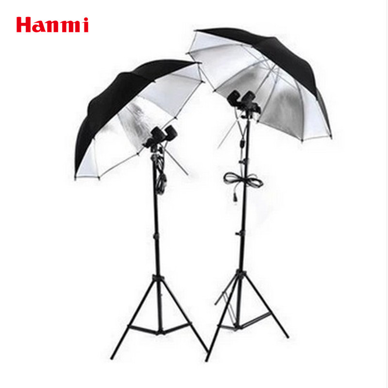 New Photography Studio Accessories Photography Set For Photo (2 Light Stands + 2 Reflective Umbrellas + 2 Dual E27 Lamp Holders) photo light lamp light photography photographic equipment 27cm lamp cover 50cm min studio stands photography light softbox cd50
