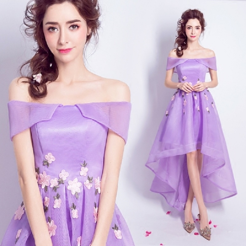 2018 New Stock Plus Size Women Pregnant Bridesmaid Dresses Wedding Party High Low Backless Sexy Romantic Cheap Purple Dress