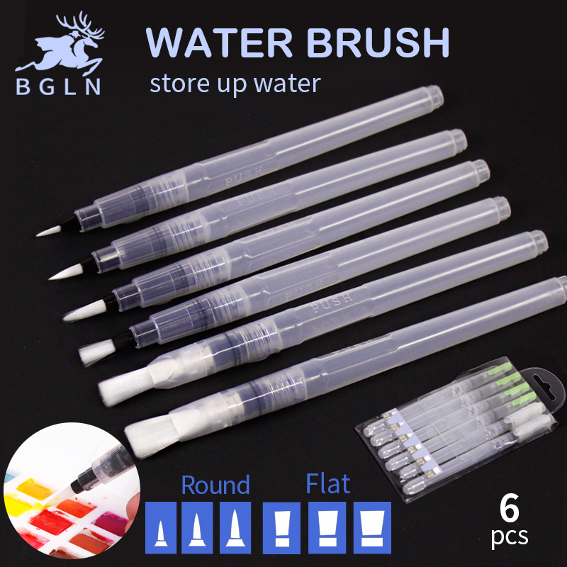 Bgln 6Pcs Different Shape Large Capacity Barrel Water Paint Brush Soft Calligraphy Painting Drawing Pen Art Supplies