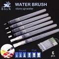 Bgln 6Pcs Different Shape Large Capacity Barrel Watercolor Paint Brush Soft Calligraphy Painting Drawing Pen Art Supplies