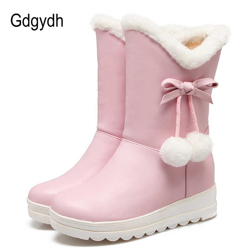 Gdgydh Verdikking Pluche Vrouwen Winter Laarzen Hoogte Toenemende Knopen 2018 Dames Platform Schoenen voor Winter Warme Schoenen Plus Size