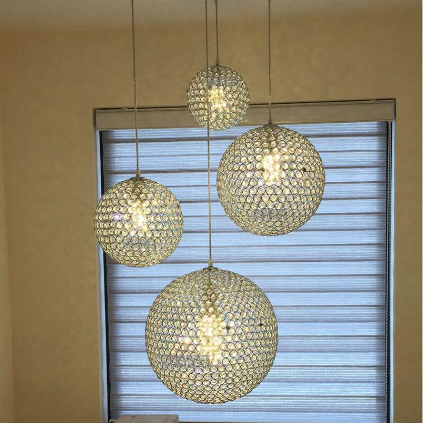 ФОТО 2016 HOT Sales !wrought iron ball K9 crystal ball circel ceiling lamp /dia15/20/25/30cm dining-room crystal ball lamp 90-260V