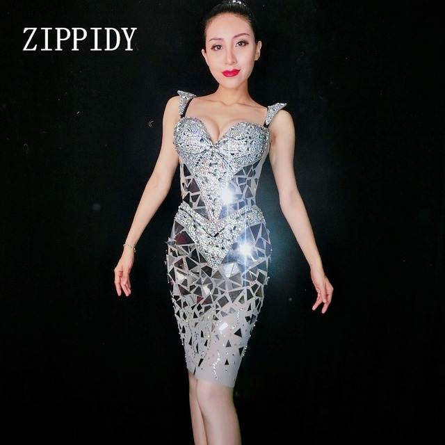 Super Sparkly Sequins Mirrors Dress Women Birthday Rhinestones Costume Prom Celebrate Grey Bling Dresses Evening Outfit