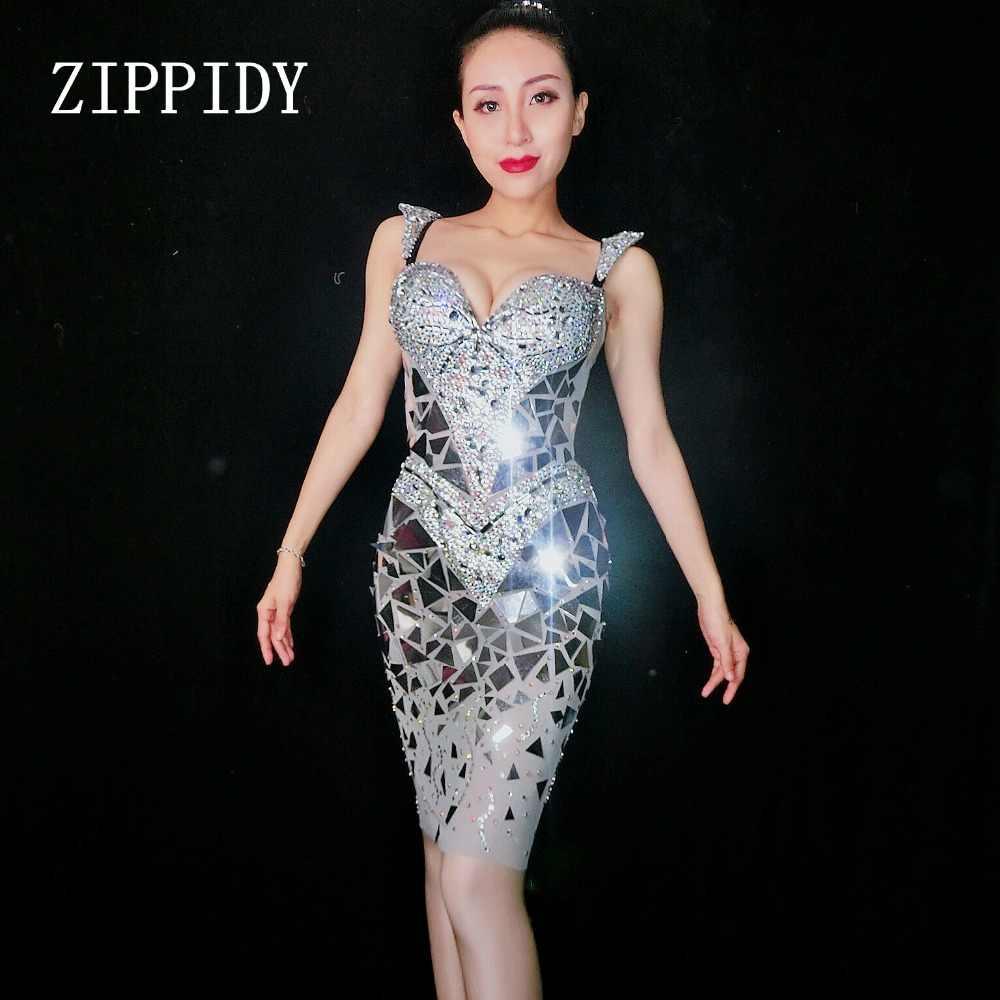 22d32e0fd Super brillante lentejuelas espejos vestido de cumpleaños de las mujeres de  traje de baile celebrar Grey