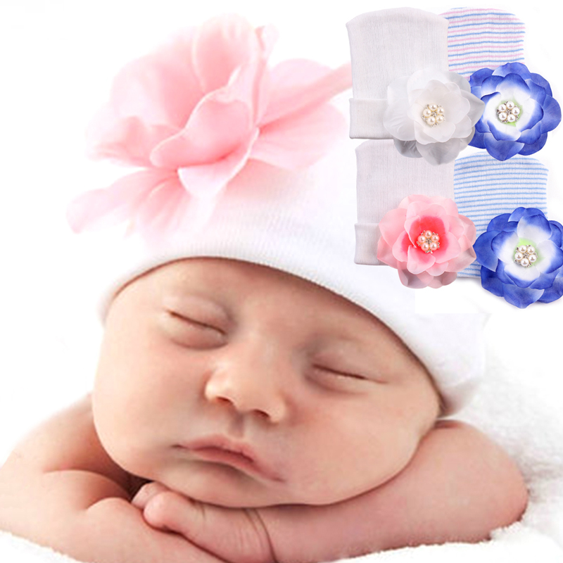 2017 Cute Newborn Baby Girl Toddler 3D Flower Soft Hospital Cap Beanie Hat   MAR30_17 new arrival lovely newborn hospital hat cute girls baby hats with flower bowknot flower hat high quality