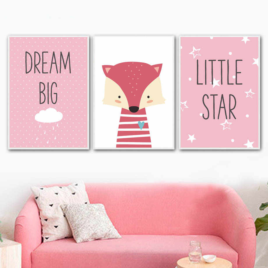 Nordic Style Cartoon Fox Poster Star Heart Paintings Kids Room Decor Animal Canvas Pictures Modern Prints Nursery Home Wall Art