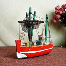 Creative Decoration Wooden Sailboat Model Mediterranean Living Room Home Small Craft Handcrafted