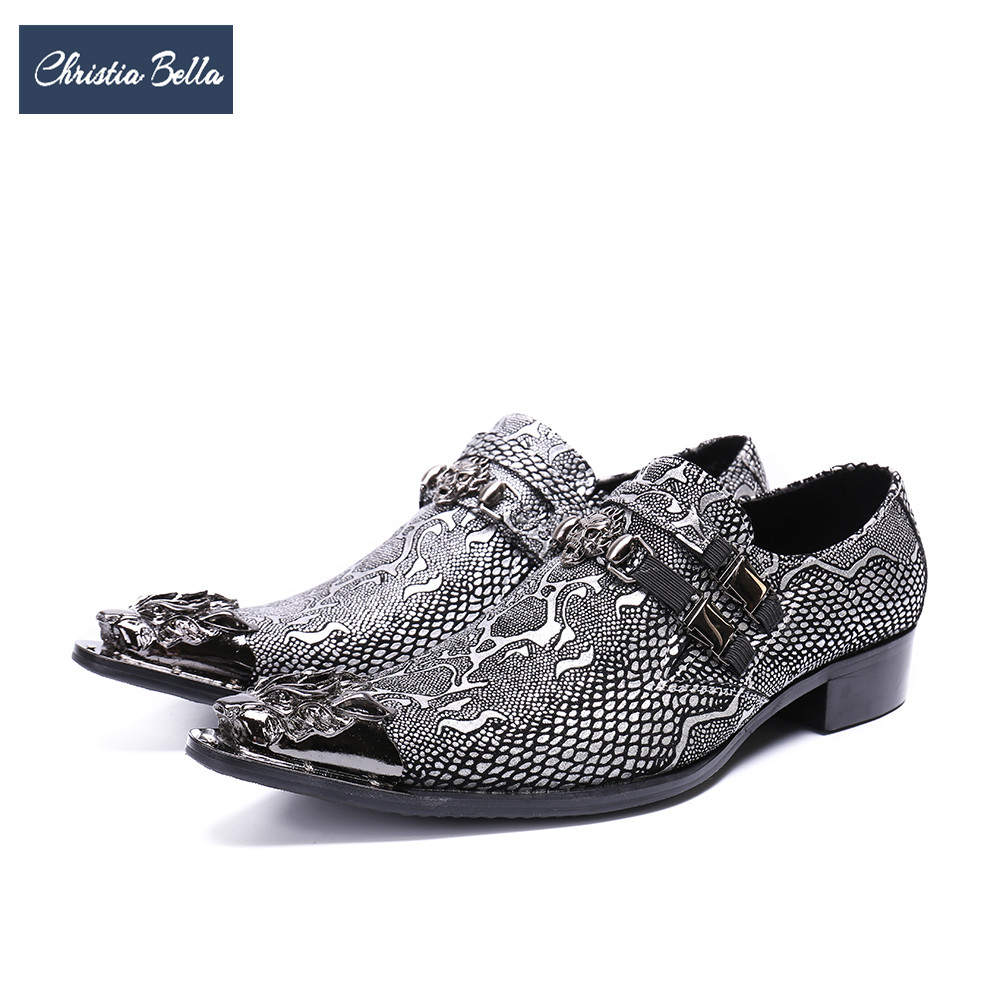 Christia Bella Gold Silver Printing Men Business Shoes Genuine Leather Metal Pointed Toe Formal Dress Shoes Men Wedding Shoes christia bella business men dress shoes genuine leather pointed toe wedding formal shoes metal toes office high heels shoes