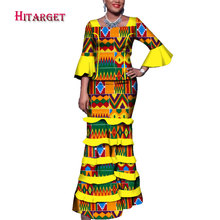Hitarget african dresses for women dashiki clothing tops+skirt 2 pieces suits petal sleeve mosaic skirt  WY3743
