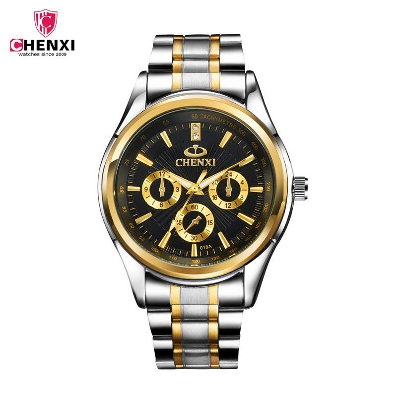 daa42a7b32e CHENXI Marca Calendário de Ouro Casual Aço Inoxidável Relógios de Quartzo  relógio de Pulso Dos Homens De Luxo de Ouro Relógio Masculino Relogio  masculino 31