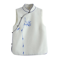Vintage Slanting Vest Artificial Hand painted Bamboo Autumn Winter Wool Chinese Shirt Short Vest Jacket