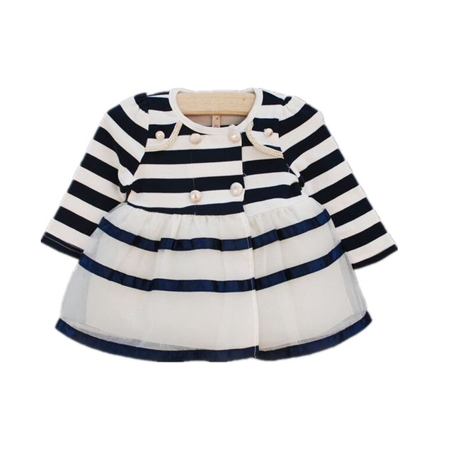 Retail-Autumn Baby Girls Dress Kids Children princess Infant Dress Striped Baby Dress vestido infantil Baby Girl Clothes 0-2 yrs
