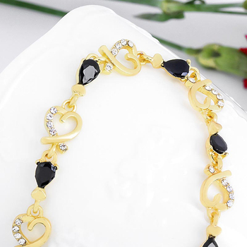 MISANANRYNE New Beautiful Colorful Austrian Crystal Fashion Heart Chain Bracelet Wholesale 1