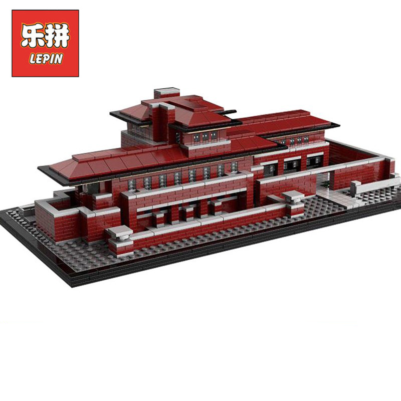 DHL Lepin Sets 17007 2326pcs City Street Figures Architecture Robie House Model Building Kits Blocks Bricks Kid Toys Gift 21010 city architecture mini street scene view reims cathedral police headquarters library fire departmen building blocks sets toys
