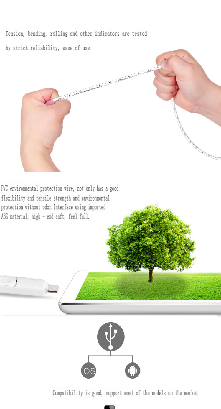 2 in 1 Ruler Cable Retractable Tape Measure Style Micro USB Data Charge Cable for iPhone iPad Samsung Android 4 Colors Available_10