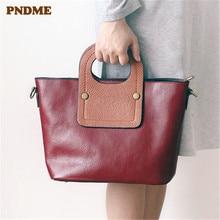 PNDME luxury genuine leather ladies handbag fashion vintage top layer cowhide summer red tote bag crossbody bags for women