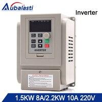 Aubalasti 1.5KW 2.2KW Inverter VFD Single Phase 220V Single Phase Out Frequency Converter Drive Single Phase Motor Speed