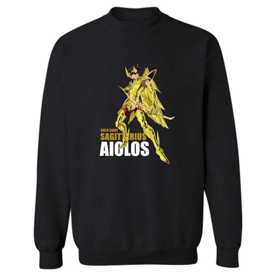 Anime Gold Saint Seiya Cartoon Sweatshirt Men Black in Winter Warm Mens Hoodies and Sweatshirts Hip Hop Autumn 4XL