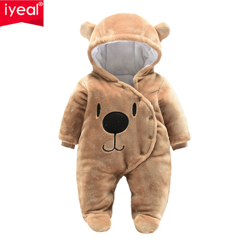 IYEAL Newborn Baby Boys Girls Clothes Clothes Autumn Winter Cartoon Animal Hooded Fleece Rompers Infant Jumpsuit Toddler Outwear iyeal baby rompers warm soft flannel winter baby clothes cartoon animal 3d ears children girls jumpsuit newborn infant romper