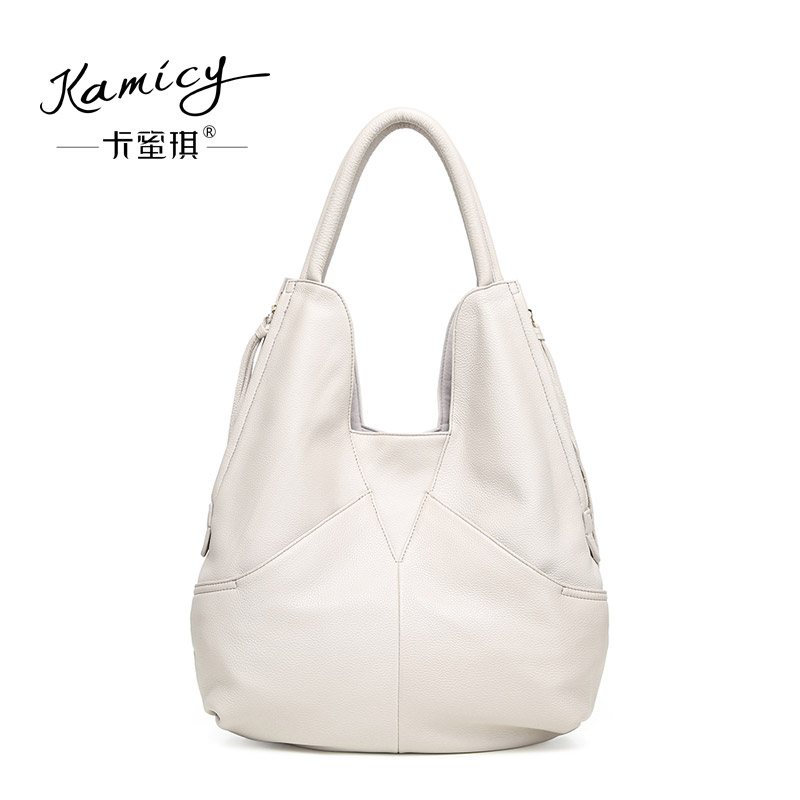 77cf70f7bae5 kamicy Large capacity 2018 new hot leather handbag fashionable women s  single shoulder bag leisure and simple new moon bag-in Shoulder Bags from  Luggage ...