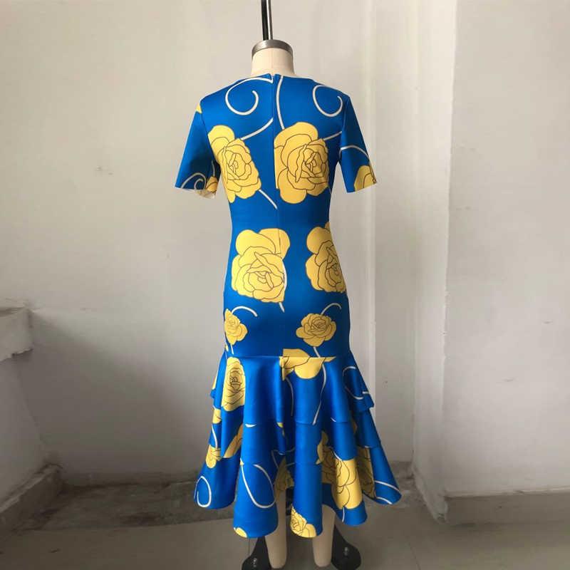 African สำหรับผู้หญิงที่มีชื่อเสียงพิมพ์แขนสั้น Mermaid Maxi ชุดผู้หญิง Plus ขนาดเซ็กซี่ชุดแต่งงาน