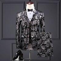 5XL 2019 Vestito Da Sposo 3 Pieces Suit Men Wedding Dress Suits Floral Printed Costume Homme Mariage Silver Baroque Suits Men