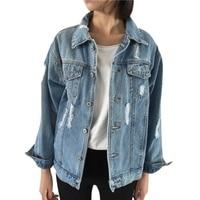 2017 Women Denim Jacket Vintage Long Sleeve Basic Coats Autumn Winter Women Loose Jeans Coat Casual