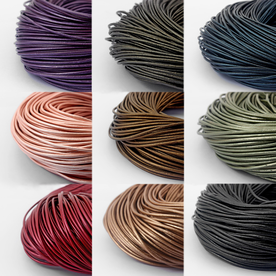 10meter Multi-Color 2mm Round Genuine Leather Cord For DIY Bracelet Necklace Jewelry Findings Accessories