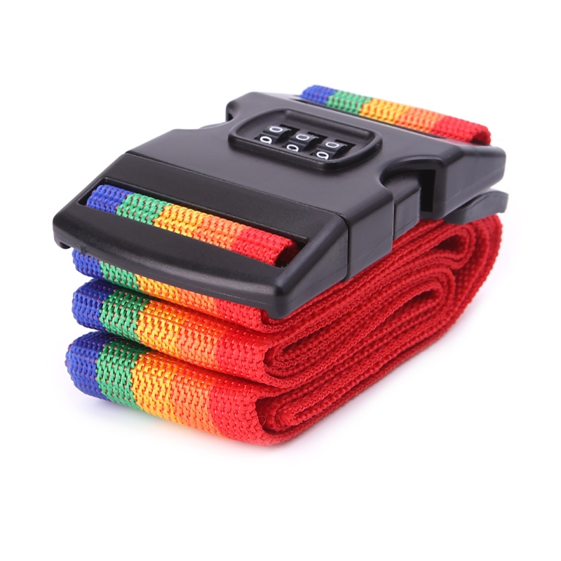 1PC Rainbow Adjustable Packing Travel Luggage Strap Lock Security Suitcase Belts New