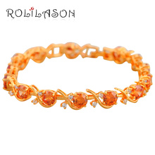 Brand K yellow Gold Tone Red Crystal design Charm Bracelets for women Health Nickel Lead free