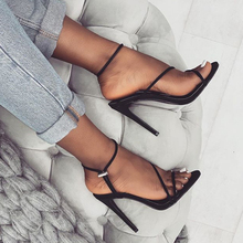 цены 2019 Hot Ankle Strap Heels Women Sandals Summer Shoes Women Open Toe Chunky High Heels Party Dress Sandals Big Size 41 New D20