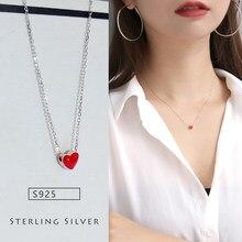 394fb28de218 Plata corazón rojo collares colgantes Simple plata gargantilla collar 925  joyería para mujer chica regalo al por mayor