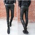 2016 nova moda primavera Outono preto lavado calças de couro apertadas calças de couro homens casual slim fit skinny para os homens, 28-33