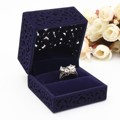 Hot Sales Velvet Flock Single Ring Case Box forJewellery Hollow Navy Blue Pendant Holder Display Box Gift