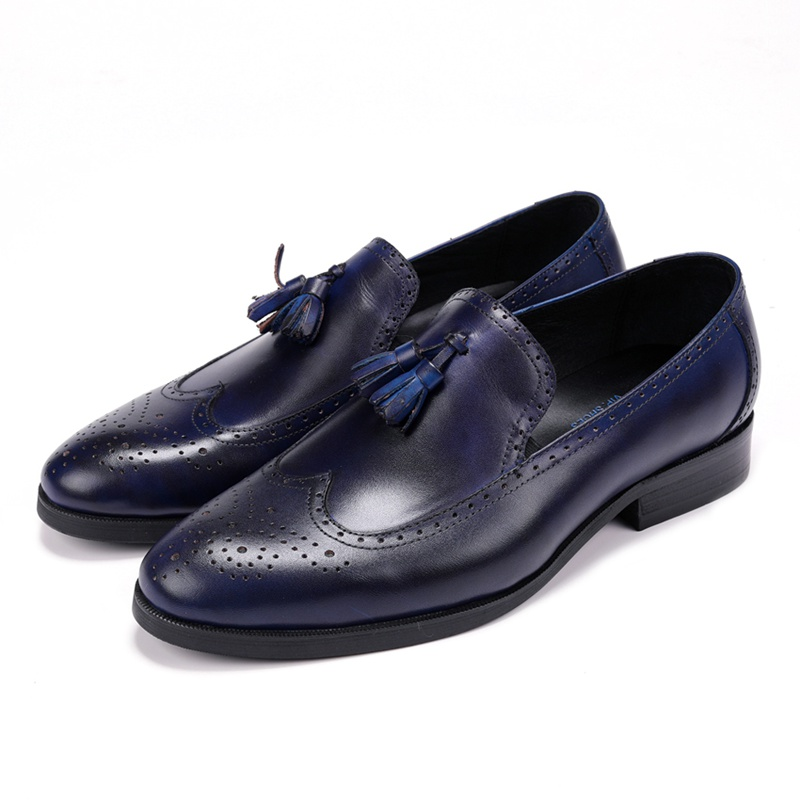 Vintag Round Toe Man Formal Dress Shoes Genuine Leather Carved Brogue Loafers British Designer Men's Wedding Party Flats JS195-in Formal Shoes from Shoes    3